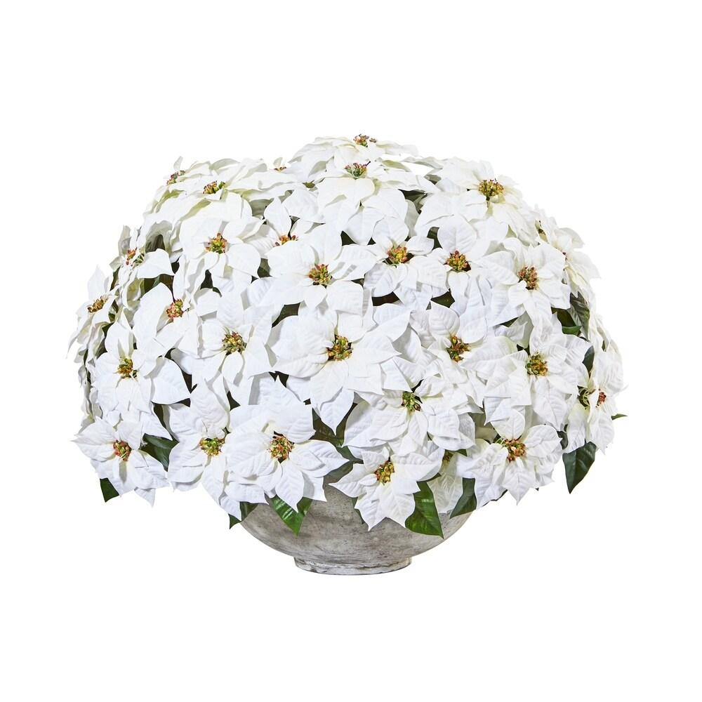 29 Giant Poinsettia Artificial Arrangement in Large Cement Bowl