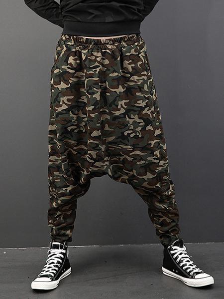 Yoins INCERUN Men Camouflage Slacks Jogger Dance Sport Crotch Trousers Casual Harem Pants