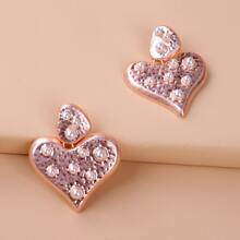 Faux Pearl Decor Heart Drop Earrings