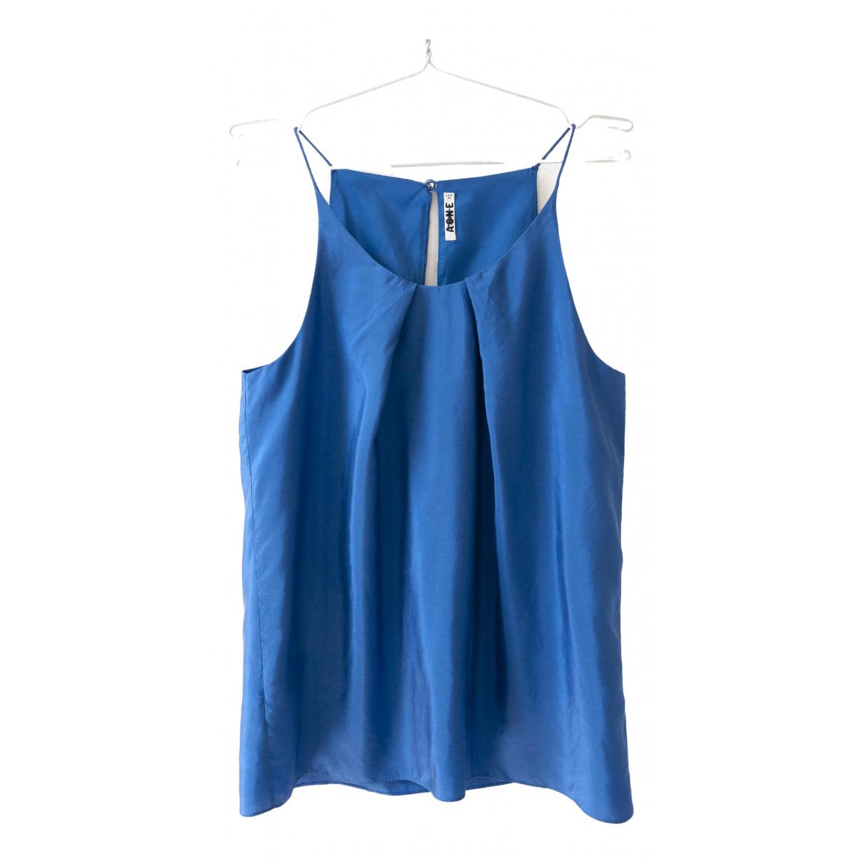 Acne Studios - Top   pour femme en soie - bleu