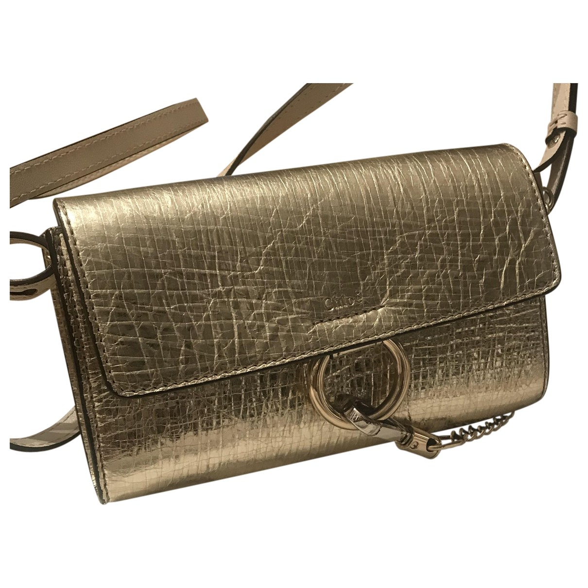 Chloe Faye Clutch in  Gold Leder