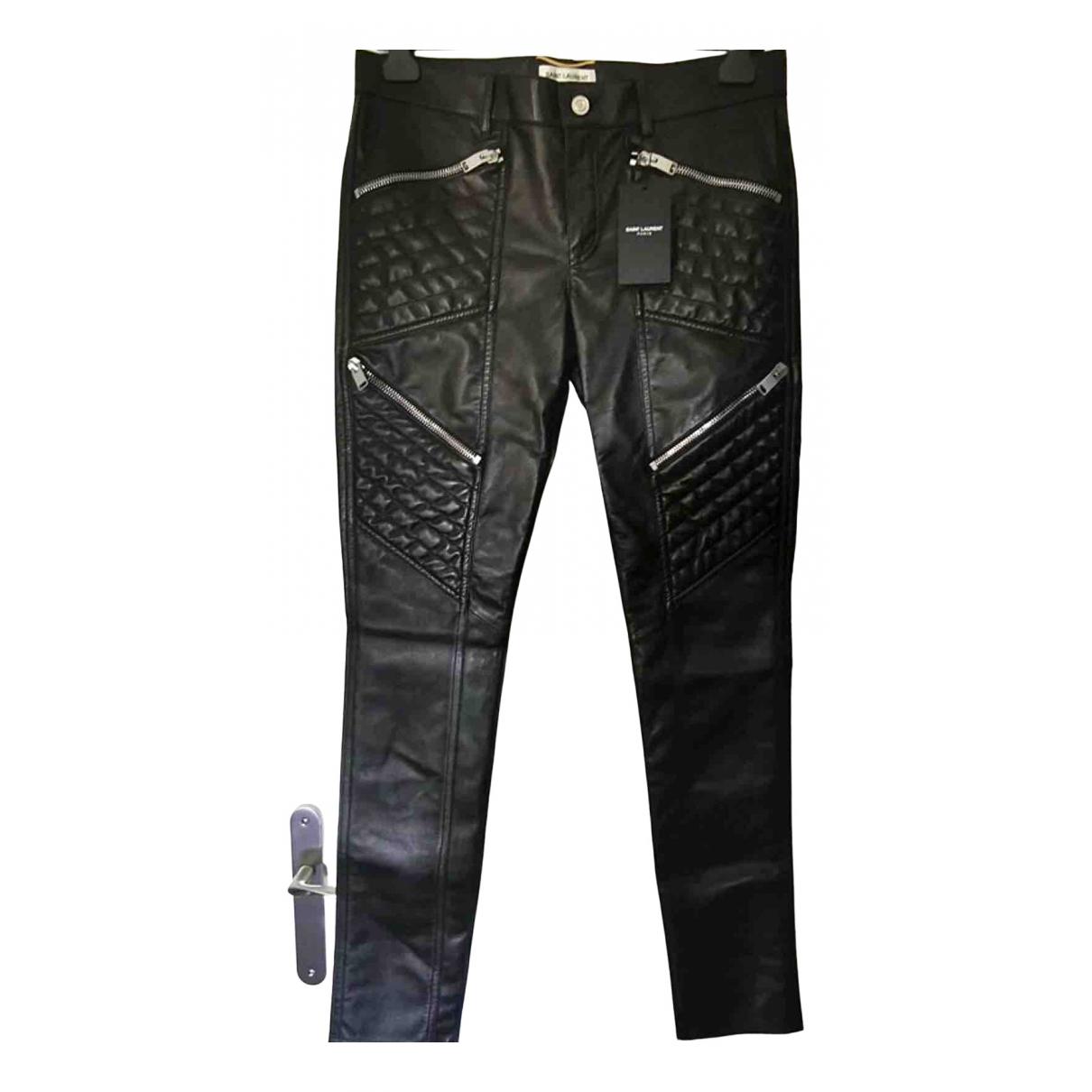 Saint Laurent N Black Leather Trousers for Women 42 FR