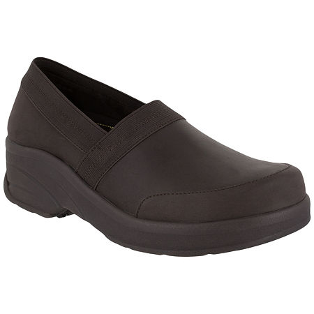 Easy Works By Easy Street Womens Attend Clogs, 6 1/2 Medium, Brown