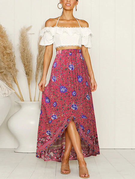 Yoins Red Calico Tribal Irregular Hem Skirt