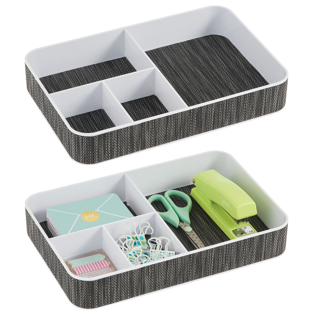 4 Section Plastic Home Office Drawer Organizer in White/Black, 8
