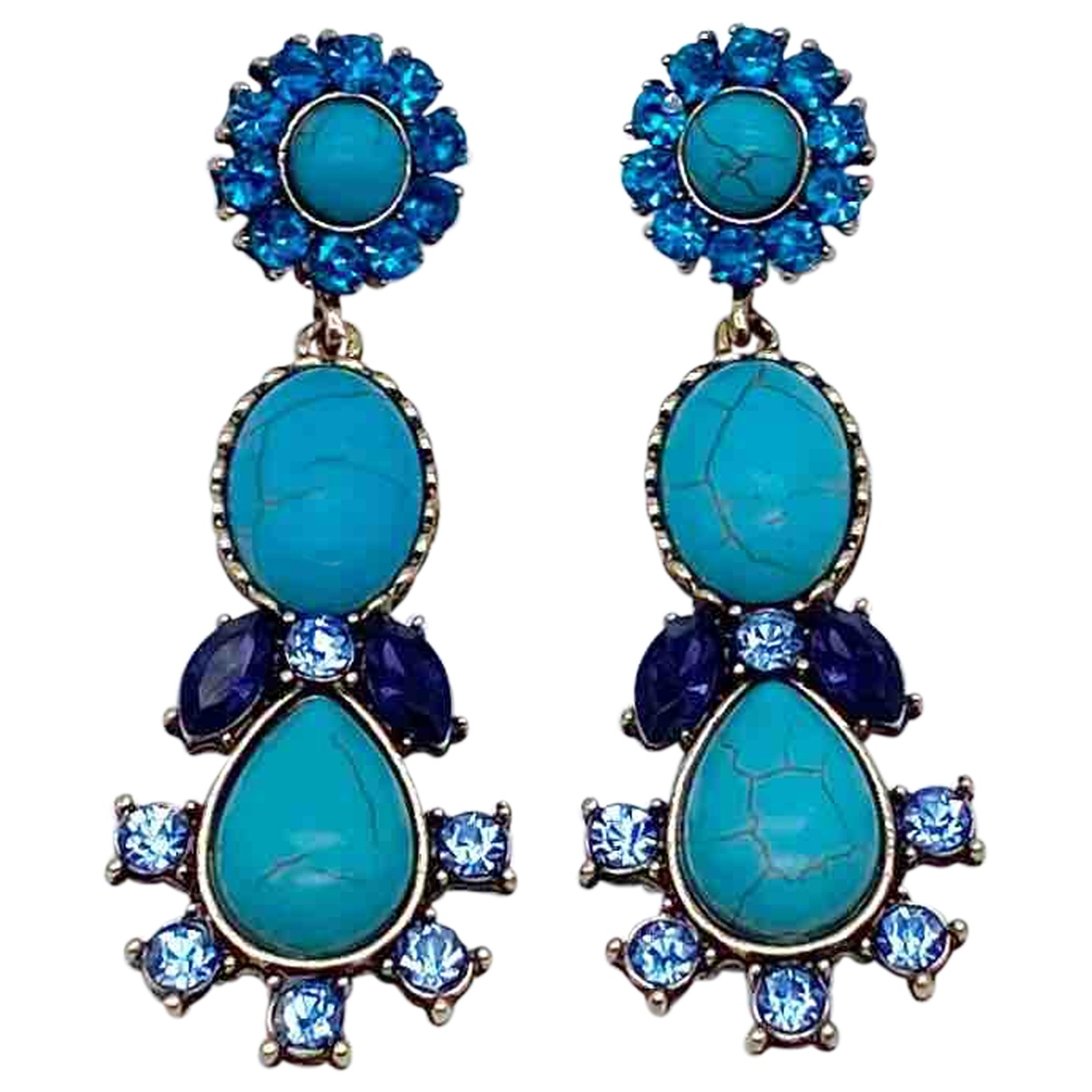Non Signé / Unsigned Turquoises Gold Metal Earrings for Women \N