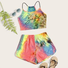 Letter Graphic Tie Dye Crop Cami Top and Shorts Set