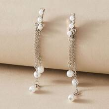 1pair Faux Pearl Drop Earrings
