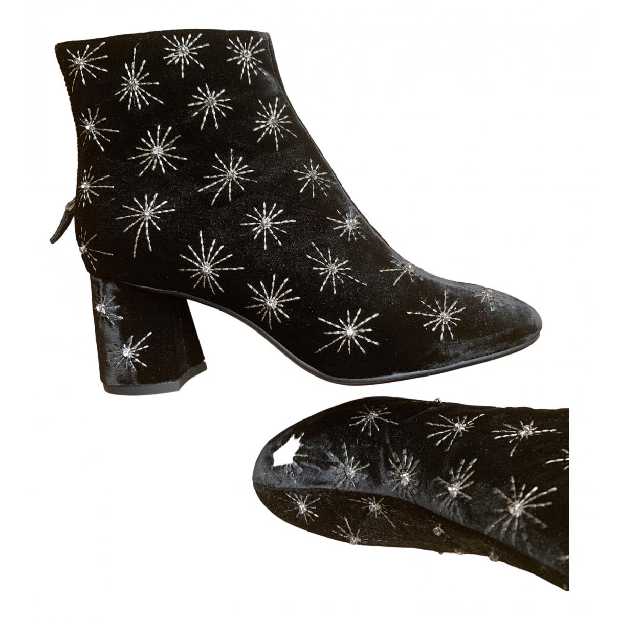 Lola Cruz \N Black Velvet Ankle boots for Women 38 EU