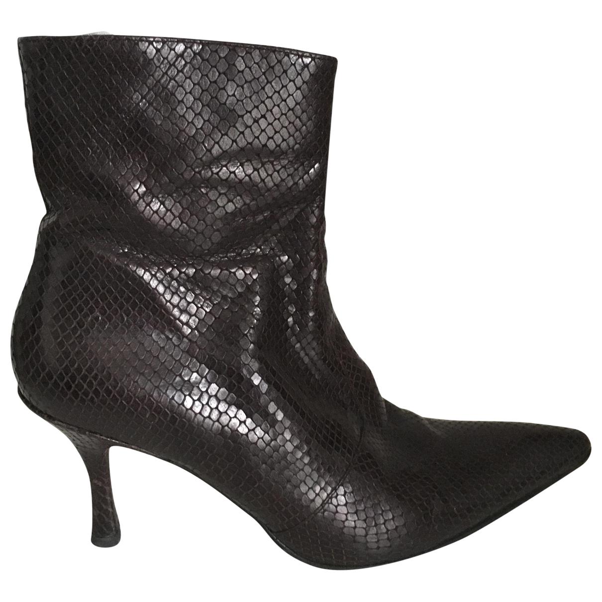 Free Lance - Boots   pour femme en serpent deau - marron