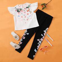 Top mit Raffungsaum und Blumen Muster & Leggings Set