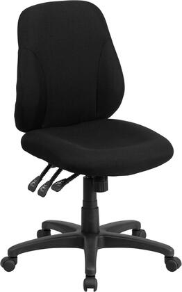 BT-90297S-GG Mid-Back Black Fabric Multifunction Swivel Ergonomic Task Office