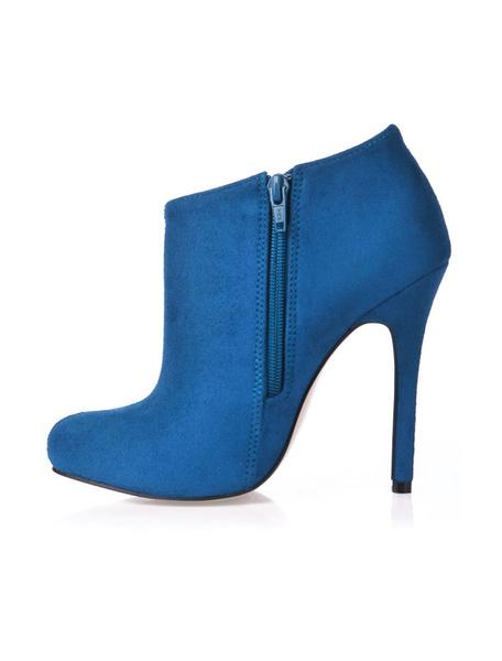 Milanoo Botines negros mujer Botines azules de tacon de aguja 2020