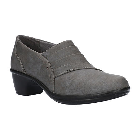 Easy Street Womens Louisa Clogs, 8 Wide, Gray