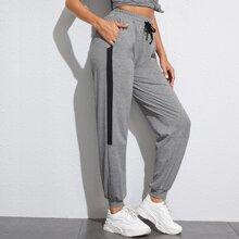 Grau  Ziehbaendchen Sport Hosen