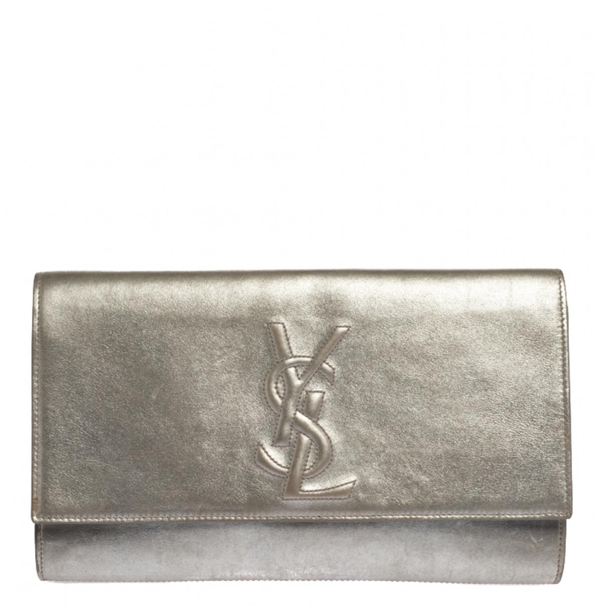 Saint Laurent - Pochette   pour femme en cuir - metallise