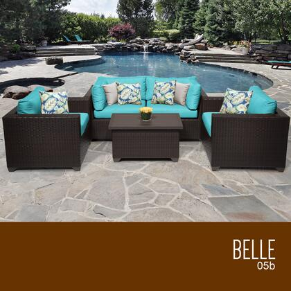 BELLE-05b-ARUBA Belle 5 Piece Outdoor Wicker Patio Furniture Set 05b with 2 Covers: Wheat and
