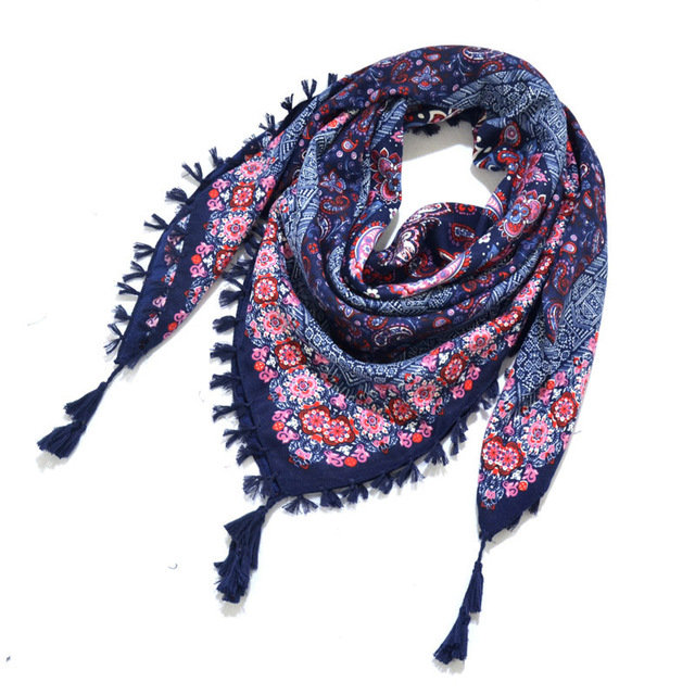 Print Knotted Tassel Scarf Jacquard Square Scarf