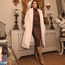 Notched Collar Self Belted Faux Fur Coat