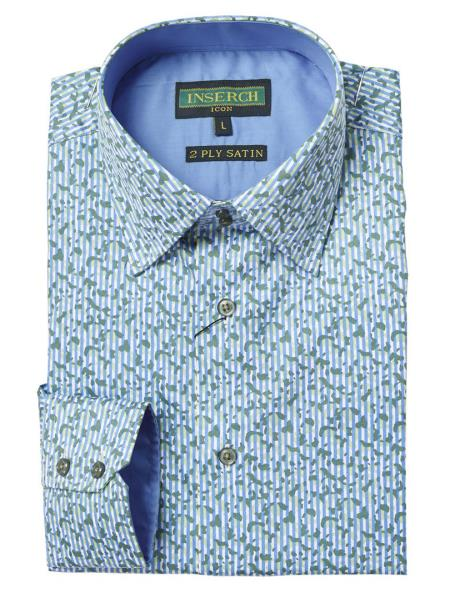 Mens Printed Long Sleeve LightBlue Cotton Shirt With Contrast Trimming