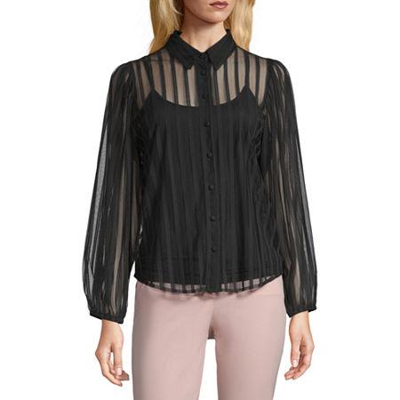 Worthington Womens Long Sleeve Regular Fit Button-Down Shirt, Medium , Black