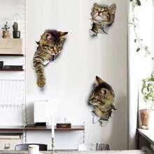 3D Cat Print Wall Sticker