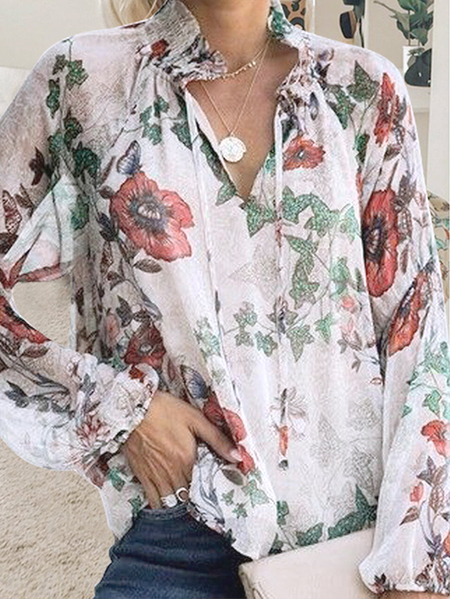 Yoins White Lace-up Design Random Floral V-neck Long Sleeves Blouse