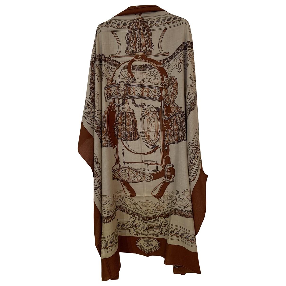 Hermes Chale 140 Schal in  Braun Kaschmir