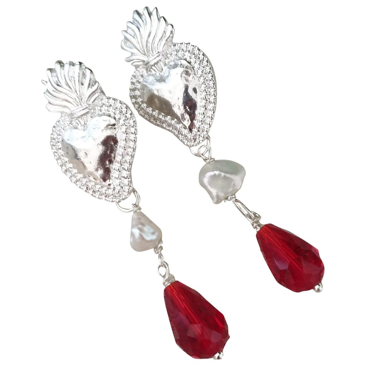 - Boucles d'oreilles Motifs Coeurs pour femme en acier - argente