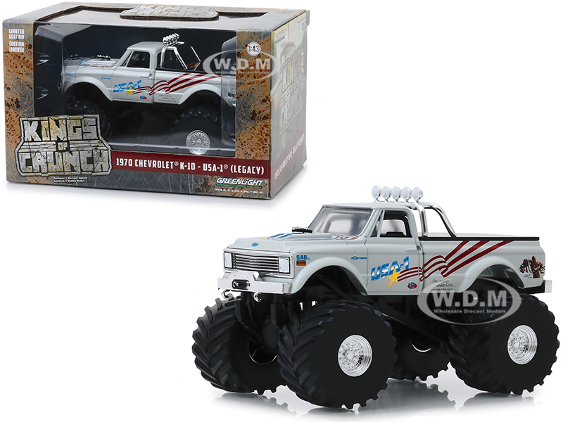 1970 Chevrolet K-10 Monster Truck USA-1 (Legacy) White with 66-Inch Tires