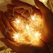 1 Stueck Lichterkette mit 10 Stuecken Gluehbirnen in Sternform