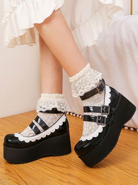 Milanoo Sweet Lolita Footwear Round Toe PU Leather Flatform Lolita Pumps