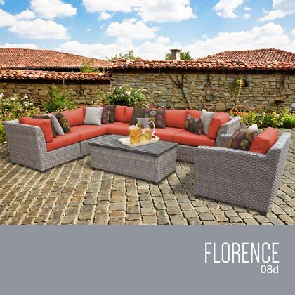 FLORENCE-08d-TANGERINE Florence 8 Piece Outdoor Wicker Patio Furniture Set 08d with 2 Covers: Grey and