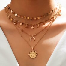 Moon & Star Charm Layered Necklace