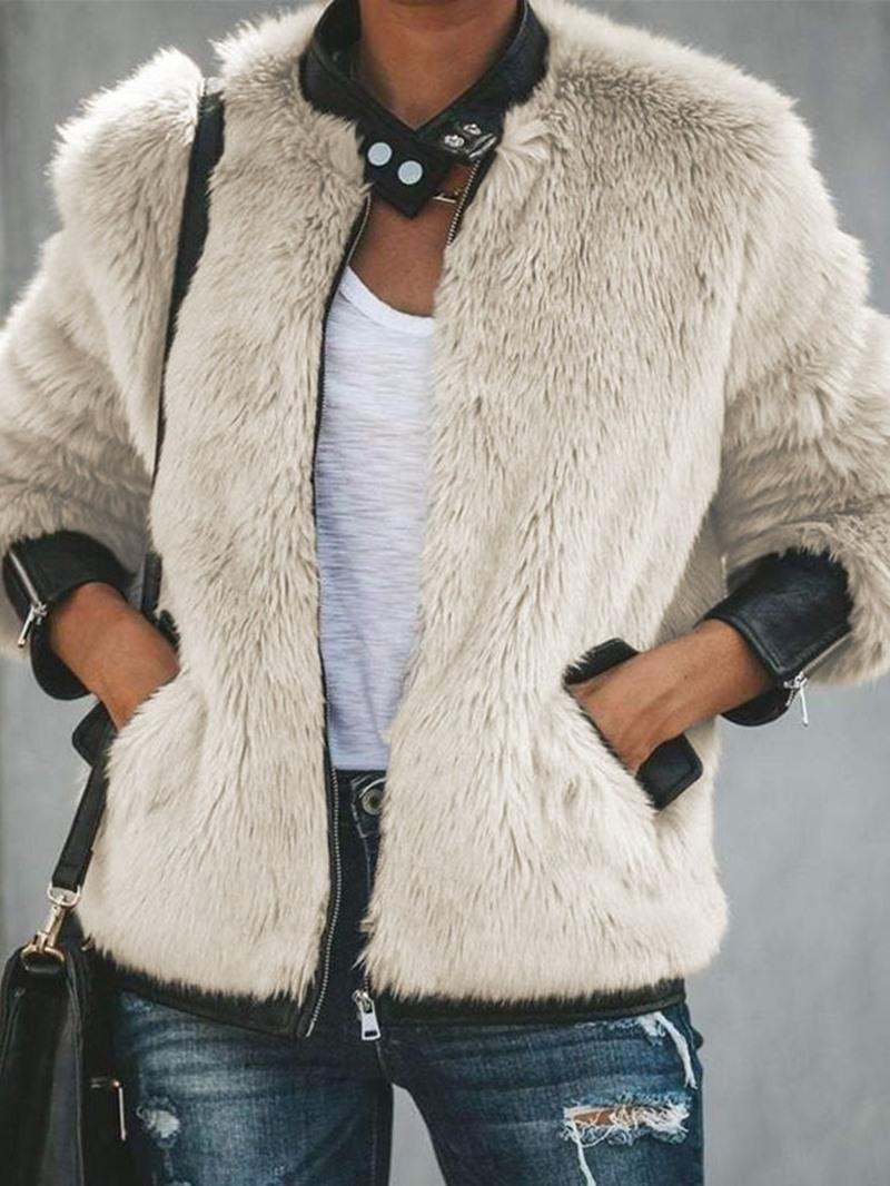 Ericdress Regular Color Block Mid-Length Zipper Winter Faux Fur Overcoat