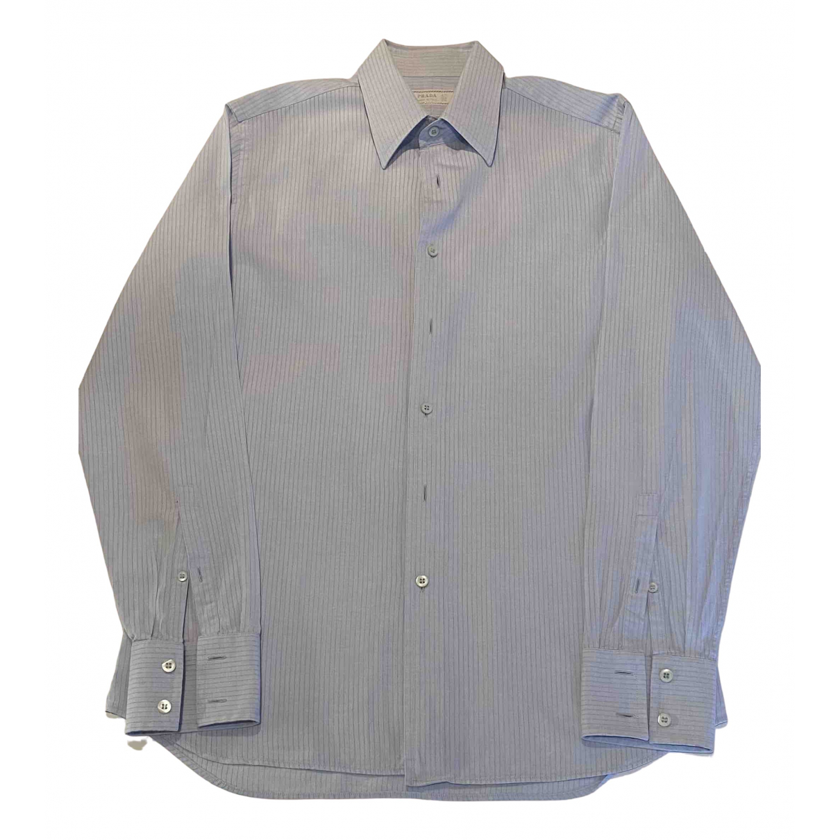 Prada \N Blue Cotton Shirts for Men 40 EU (tour de cou / collar)