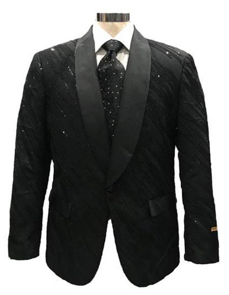 Mens Black One Button Blazer