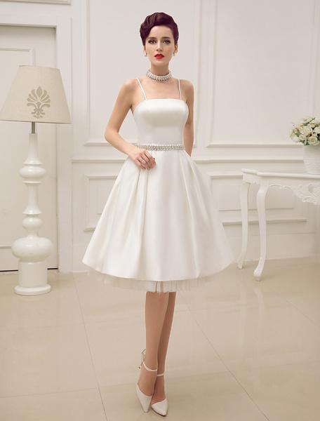 Milanoo Vestido de novia con tirantes espagueti de moda