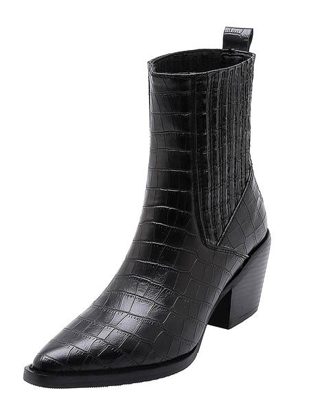 Milanoo Women Ankle Boots Crocodile Print Pointed Toe Chunky Heel Fashion Boots