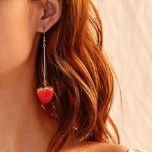 Tropfenohrringe mit Erdbeere Design 1 Paar
