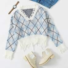 Pullover mit Argyl Muster, umgesaeumtem Saum und sehr tief angesetzter Schulterpartie