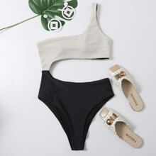 Two Tone Cut-out One Shoulder One Piece Swimsuit