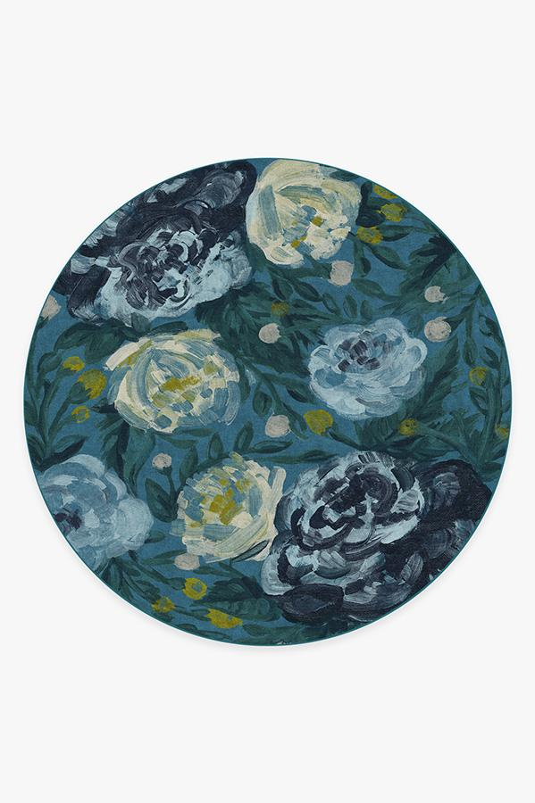 Washable Rug Cover | Camellia Midnight Rug | Stain-Resistant | Ruggable | 8' Round