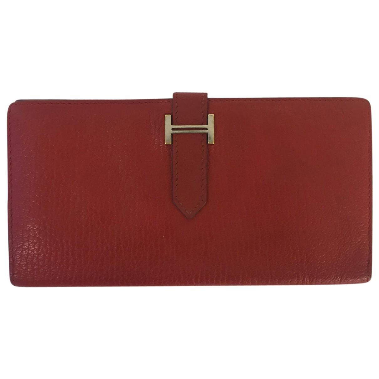 Hermes - Portefeuille Bearn pour femme en cuir - rouge