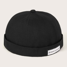 Men Letter Pattern Cuffed Beanie
