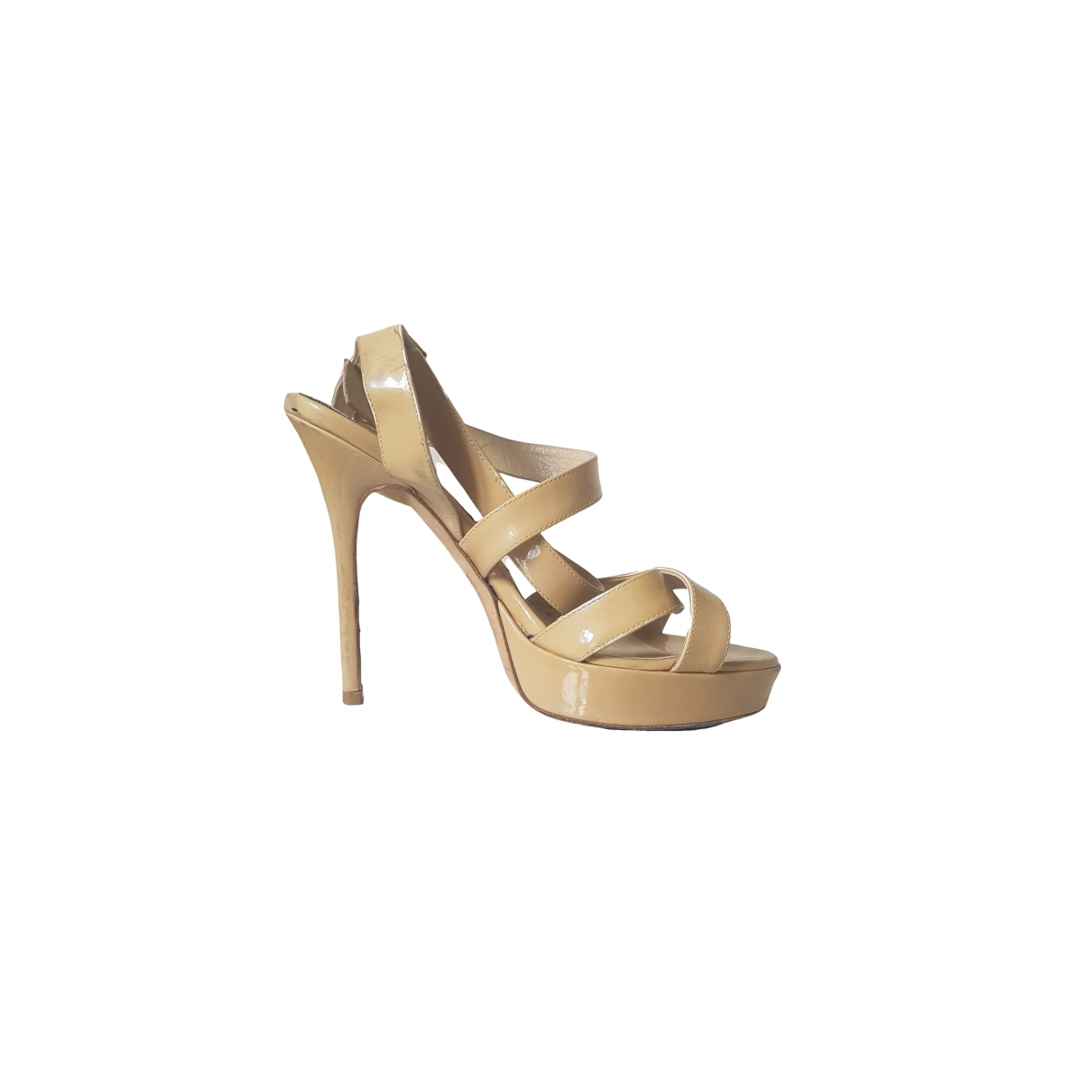 Jimmy Choo \N Beige Patent leather Sandals for Women 37 EU