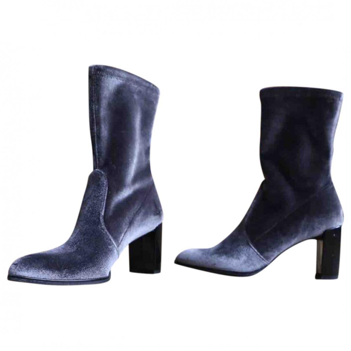 Stuart Weitzman \N Grey Velvet Ankle boots for Women 36.5 EU