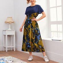 Vestido linea A de cintura fruncido de tie dye