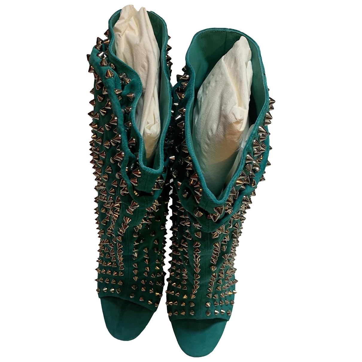 Christian Louboutin - Boots   pour femme en suede - turquoise