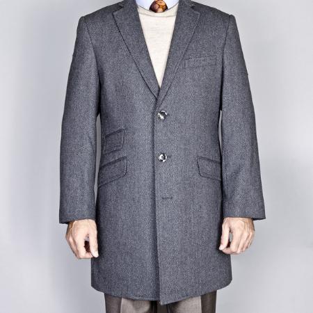 Gray Herringbone Wool/Cashmere Blend Single Breasted Carcoat
